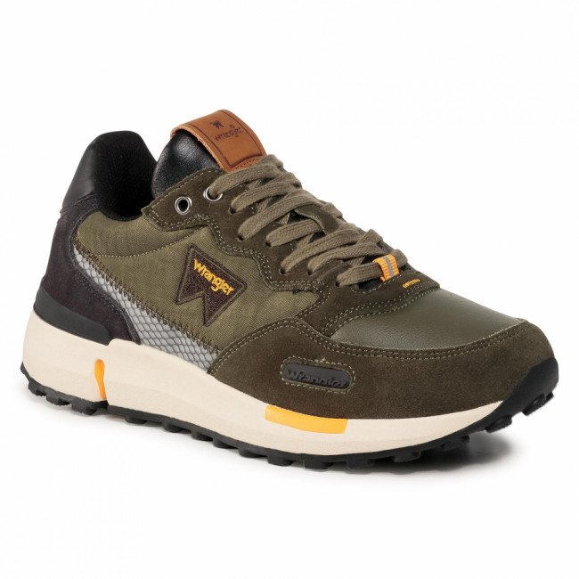 Sneakersy WRANGLER - Iconic 70 WM02080A  Military/Dk.Brown/Ochre 732
