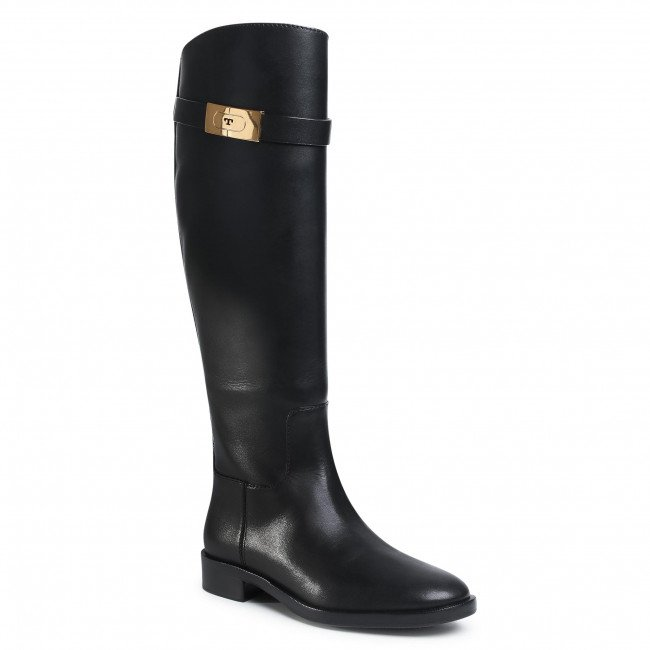 Čižmy vo vojenskom štýle TORY BURCH - Riding Boot 77223 Perfect Black 006