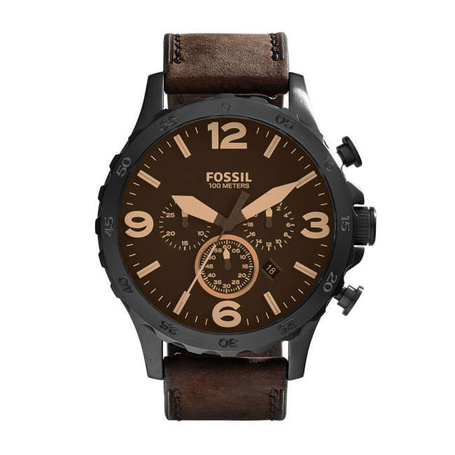 Hodinky FOSSIL - Nate JR1487 Dark Brown/Black