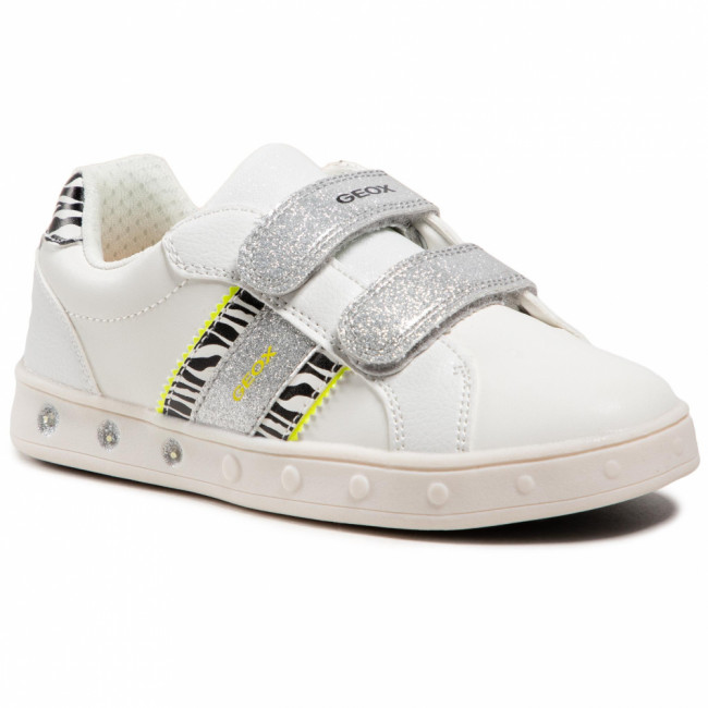 Sneakersy GEOX - J Skylin G. H J158WH 05404 C0552 D White/Fluo Yellow