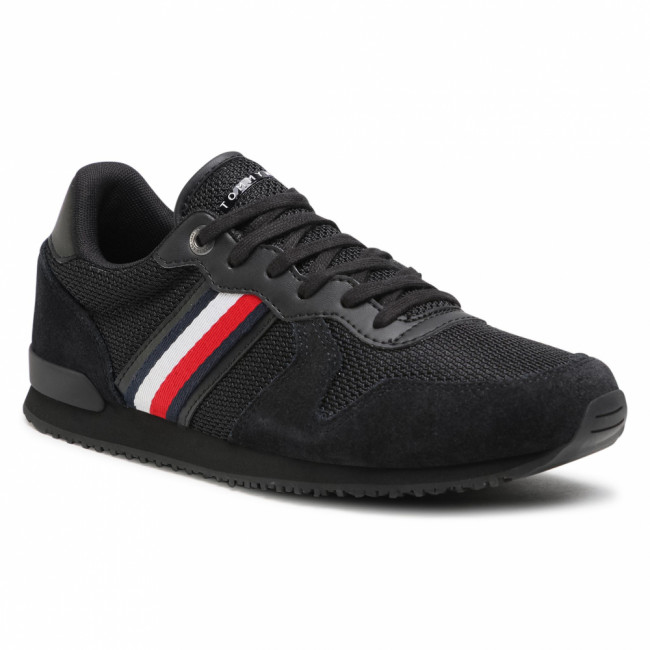 Sneakersy TOMMY HILFIGER - Iconic Material Mix Runner FM0FM03470 Black BDS
