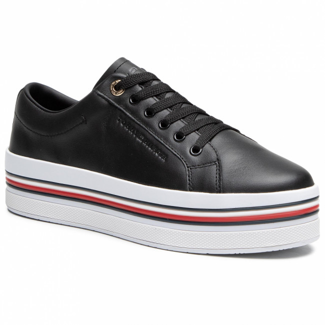 Sneakersy TOMMY HILFIGER - Corporate Flatform Cupsole FW0FW05553 Black BDS