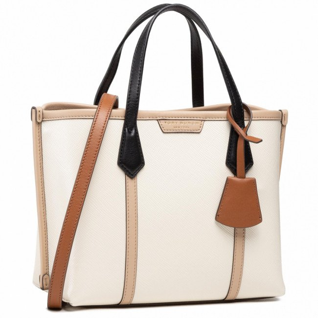 Kabelka TORY BURCH - Perry Color-Block Small Triple-Compartment Tote 77011 New Ivory 104