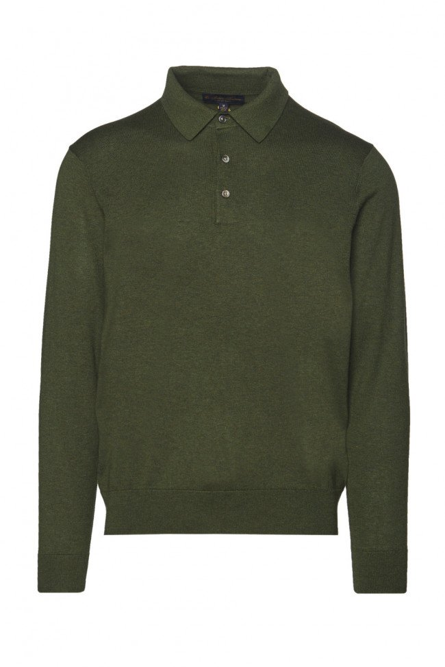 Sveter Brooks Brothers Swt Ml Silk Cotton Ls Polo Military Green