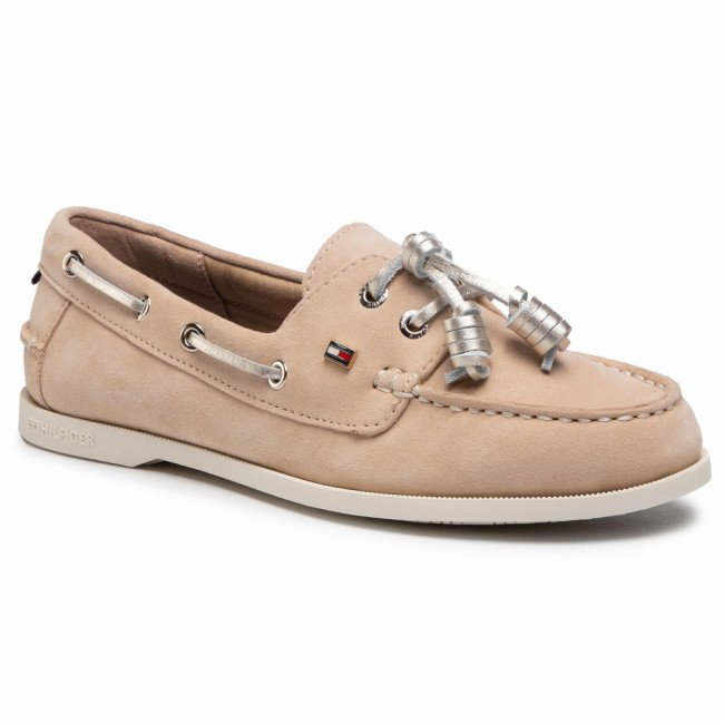 Poltopánky TOMMY HILFIGER - Tommy Essential Boat Shoe FW0FW05639 Clayed Pebble AB3