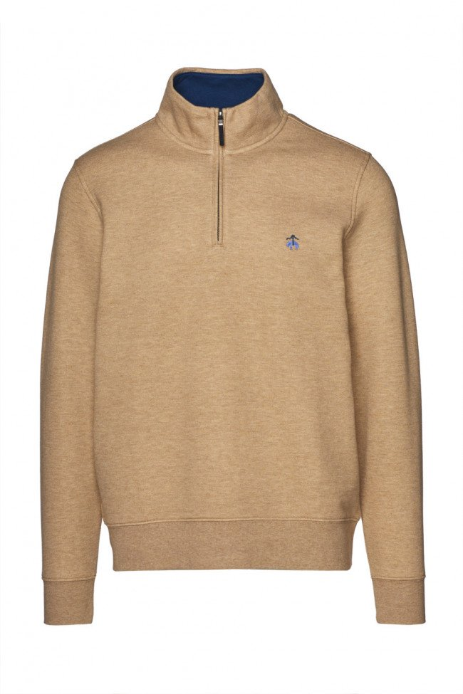 Sveter Brooks Brothers Knt Ml Brushed Terry Half Zip Med Bwn Hthr