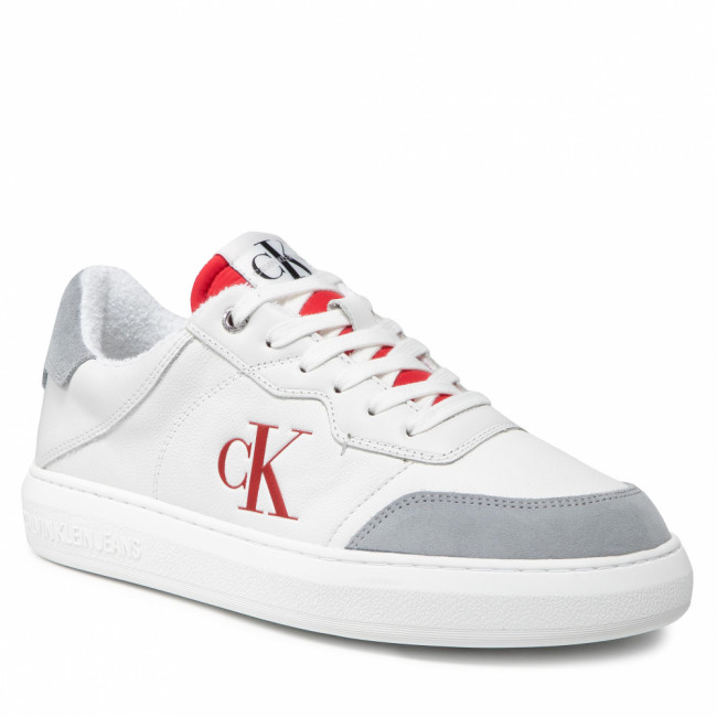Sneakersy CALVIN KLEIN JEANS - Cupsole Laceup Casual Warm YM0YM00283 White/Salsa 02R